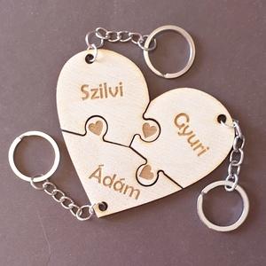 Együtt örökre puzzle szív kulcstartó 3 részes - Meska.hu