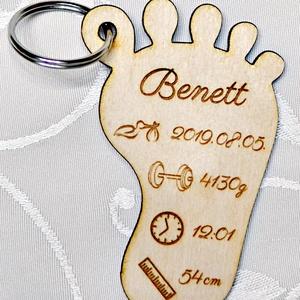 Baba emlékőrző fa kulcstartó, Táska & Tok, Kulcstartó & Táskadísz, Kulcstartó, Gravírozás, pirográfia, Famegmunkálás, Meska