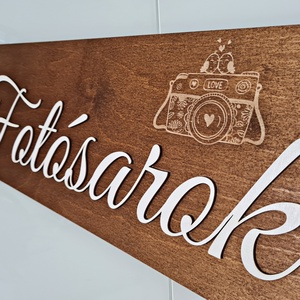 ESKÜVŐI TÁBLA � FOTÓSAROK , Esküvő, Dekoráció, Tábla & Jelzés, Gravírozás, pirográfia, Famegmunkálás, Meska