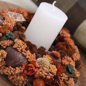 Rozsdabarna ajtódisz, Dekoráció, Otthon & lakás, Dísz, Virágkötés, Száraz virágokból és termésekből készitett rusztikus stilusú ajtódisz / asztaldisz. \nRozsda szinével..., Meska