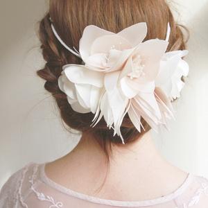 Romantikus virágkoszorú fejdísz, Esküvő, Hajdísz, ruhadísz, Varrás, Virágkötés, Menyasszonyi / koszorúslány fejdísz  Nagyon halvány, finom rózsaszín árnyaltú textilből, kézzel kés..., Meska