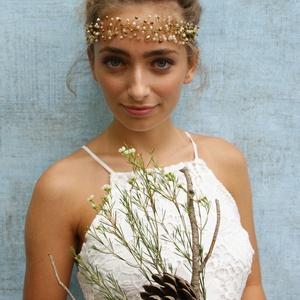 d8901f2614 Arany-rozé gyöngykoszorú, Esküvő, Hajdísz, ruhadísz, Gyöngyfűzés, Ha nem  szeretnél