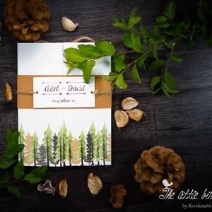 Erdei stílusú esküvői meghívó, Meghívó, Meghívó & Kártya, Esküvő, Fotó, grafika, rajz, illusztráció, Papírművészet, Erdei stílusú, kinyitható esküvői meghívó.\n\nHívd meg vendégeid ezzel az egyedi készítésű meghívóval...., Meska