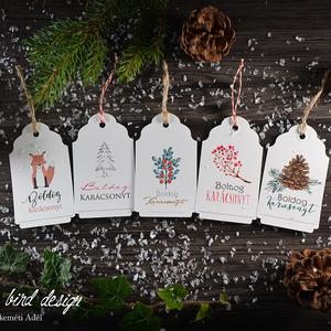 Karácsonyi kísérőkártya csomag verz.3., Otthon & Lakás, Karácsony & Mikulás, Karácsonyi képeslap, Fotó, grafika, rajz, illusztráció, Papírművészet, Karácsonyi kísérőkártya csomag:\n\nA csomagtartalma:\n- 5 db 10,5x6,5 cm 200 g-os művészpapírból, egyed..., Meska