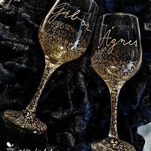 Esküvői pohár pár (2db), Tálalás, Dekoráció, Esküvő, Üvegművészet, Festett tárgyak, Kézzel festett esküvői boros pohár párban. \n\nTökéletes ajándék házaspárok részére. \n\n, Meska