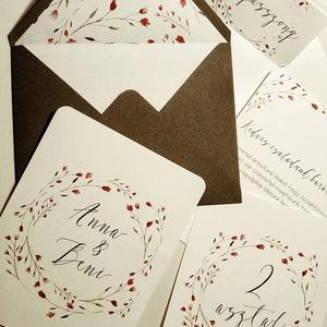 Apró virágos esküvői meghívó, Esküvő, Meghívó, ültetőkártya, köszönőajándék, Fotó, grafika, rajz, illusztráció, Papírművészet, Akvarell esküvői meghívó csomag, Meska