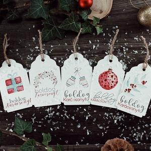 Karácsonyi ajándékkísérő kártya csomag verz.4., Karácsonyi csomagolás, Karácsony & Mikulás, Otthon & Lakás, Fotó, grafika, rajz, illusztráció, Papírművészet, Karácsonyi kísérőkártya csomag:\n\nA csomagtartalma:\n- 5 db 10,5x6,5 cm 200 g-os művészpapírból, kézze..., Meska