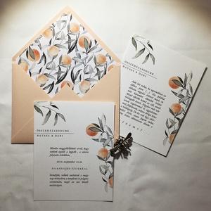 Narancsos esküvői meghívó - borítékkal, Meghívó, Meghívó & Kártya, Esküvő, Festészet, Fotó, grafika, rajz, illusztráció, 12 x 15 cm meghívó lap, színben, grafikában passzoló kézzel hajtogatott borítékkal.\n\nA grafika kézze..., Meska