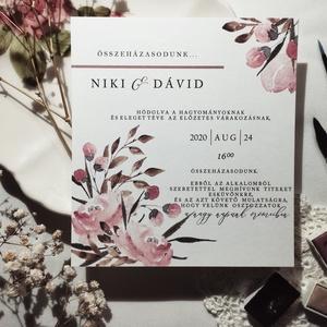 Rózsás esküvői meghívó, Esküvő, Meghívó, ültetőkártya, köszönőajándék, Papírművészet, A grafikától (kézzel festett, majd digitalizált) a kivitelezésig teljes egészében saját meghívó.\n\n\n-..., Meska