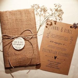 Natúr esküvői meghívó szövetzsákkal, Esküvő, Meghívó, ültetőkártya, köszönőajándék, Papírművészet, Natúr kraftkarton papírra (280 grammos) készült esküvői meghívó hozzá vágott, ráhajtogatott zsákszöv..., Meska