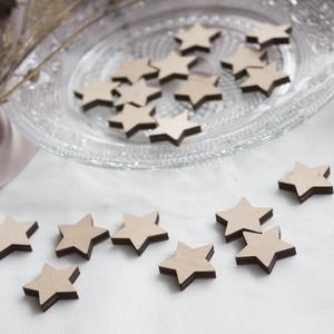 Csillag konfetti fából (20 darabos csomag), Fa, Rétegelt lemez, fa alap, Famegmunkálás, Rétegelt nyírfatáblából lézervágott kis csillagok, esküvői dekorációhoz ajánlott kellék/alapanyag. A..., Meska