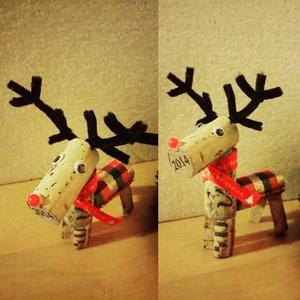 Rudolf rénszarvas parafadugóból, Karácsonyi dekoráció, Karácsony & Mikulás, Otthon & Lakás, Újrahasznosított alapanyagból készült termékek, Mindenmás, Parafadugó újrafelhasználásával készült rénszarvas dekoráció/függődísz.\nA szarvas mérete kb.: magass..., Meska