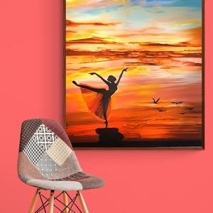 Olaj festmény,olaj kép,otthoni dísz,fali dísz,csendélet,absztrakt stilus,emberi ábrázolás,balett táncos,naplemente, Művészet, Festmény, Olajfestmény, Festészet, Fotó, grafika, rajz, illusztráció, A fényképezőgép sehogy sem tudja visszaadni azt az kimondhatatlan szépséget,amelyet valóság mutat.De..., Meska