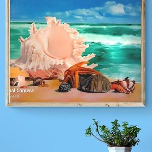 Olaj festmény,olaj kép,nyaralási kép,tengerpart,kagylók,melegség benyomása,fali dísz,otthoni dísz,csendélet, Művészet, Festmény, Olajfestmény, Festészet, Festett tárgyak, Hihetetlenül friss,üde, szívmelengető, jókedv csináló, vágyakozó érzéseket keltő reprodukció.Csak ol..., Meska