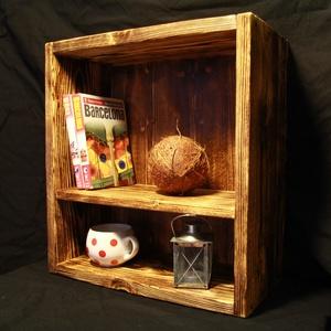 """Polc, Rusztikus polc, Polc, Bútor, Otthon & Lakás, Famegmunkálás, Rusztikus \""""doboz polc\"""" fából. A fa textúrája a speciális felületkezelésnek köszönhetően térben kieme..., Meska"""