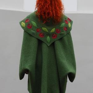 Tiame zöld romantikus rózsás poncsó kabátka  (tiame) - Meska.hu