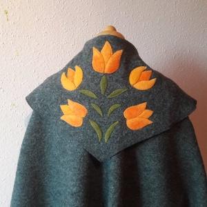 Tiame tulipános poncsó, Ruha & Divat, Női ruha, Kabát, Varrás, Nemezelés, A képen látható poncsót egy sötétebb feketés szürke melange színben tudom elkészíteni rendelésre. A ..., Meska