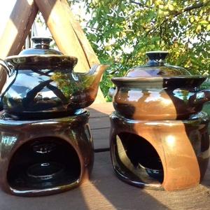 Masszázs olaj melegítő készlet, Egészségmegőrzés, Szépségápolás, Kerámia, A képen látható készletet megrendelésre készítettem. Alulról mécsesekkel lehet felmelegíteni az olaj..., Meska