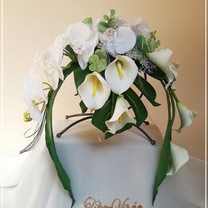 Orchideás-kálás örök-csokor, Esküvő, Menyasszonyi- és dobócsokor, Menyasszonyi- és dobócsokor, Ha valami másra vágysz... Orchideás-kálás örök-csokor  Különleges formájú menyasszonyi kifli csokor,..., Meska