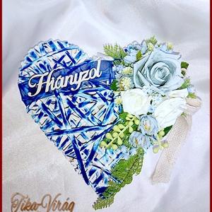Rusztikus Szív Jég-kék és Fehér rózsa Mindszentek, Halottak napjára vagy megemlékezésre ajánlom, Otthon & Lakás, Dekoráció, Koszorú, Virágkötés, Rusztikus Szív Jég-kék és Fehér rózsa Mindszentek, Halottak napjára vagy megemlékezésre ajánlom\nMére..., Meska
