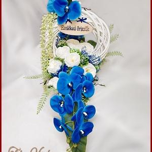 Virágtál Kék-orchideák Fehér Angol-rózsákkal Mindszentek, Halottak napjára vagy megemlékezésre ajánlom, Otthon & Lakás, Dekoráció, Koszorú, Virágtál Kék-orchideák Fehér Angol-rózsákkal Mindszentek, Halottak napjára vagy megemlékezésre ajánl..., Meska