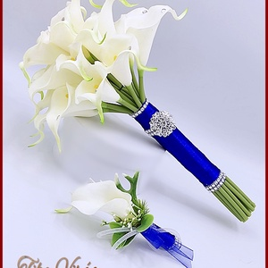 24 virágos Fehér Kála örök-csokor királykék díszítéssel + kitűzővel, Esküvő, Menyasszonyi- és dobócsokor, Virágkötés, 24 virágos Fehér Kála örök-csokor királykék díszítéssel + kitűzővel\n24 virágos örök-csokor\nMagassága..., Meska