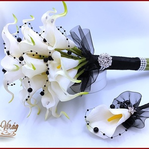 24 virágos Fehér Kála örök-csokor Fekete díszítéssel + kitűzővel, Esküvő, Menyasszonyi- és dobócsokor, Virágkötés, 24 virágos Fehér Kála örök-csokor Fekete díszítéssel + kitűzővel\n24 virágos örök-csokor\nMagassága: 3..., Meska