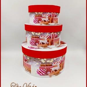 Karácsonyi doboz szett 3 db-os 131420., Csomagolóanyag, Doboz, henger, Mindenmás, Virágkötészet, Papírművészet, Karácsonyi doboz szett 3 db-os 131420.\nMéretei: \n-nagy: 20x12cm\n-közepes: 16x9cm\n-kicsi: 13x8cm, Meska