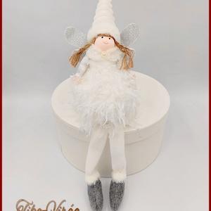 Karácsonyi lógólábú Tündér 134643., Karácsony & Mikulás, Karácsonyi dekoráció, Varrás, Karácsonyi lógólábú Tündér 134643.\nMérete: 32cmx10cm\n, Meska
