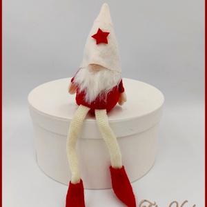 Karácsonyi lógólábú Manó 133826., Karácsony & Mikulás, Karácsonyi dekoráció, Varrás, Karácsonyi lógólábú Manó 133826.\nMérete: 23cmx7cm, Meska