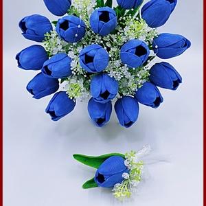 19 szálból álló Király-kék Tulipán csokor + kitűzővel örök-csokor, Esküvő, Menyasszonyi- és dobócsokor, 19 szálból álló Király-kék Tulipán csokor + kitűzővel örök-csokor Extra minőségű,  gumi anyagú Tulip..., Meska
