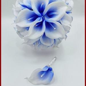 30 virágos White-Blue, Kék-fehér kálás örök-csokor + kitűzővel , Esküvő, Menyasszonyi- és dobócsokor, Virágkötés, 30 virágos White-Blue, Kék-fehér kálás örök-csokor + kitűzővel \nSpeciális gumiból készült virágok.\nS..., Meska