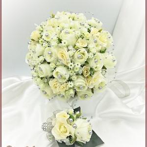 25 szálas ekrü rózsa örök-csokor ezüst díszítéssel + kitűzővel , Esküvő, Menyasszonyi- és dobócsokor, Virágkötés, 25 szálas ekrü rózsa örök-csokor ezüst díszítéssel + kitűzővel \nÁtmérője: 24cm\nMagassága: 25cm\nMás s..., Meska