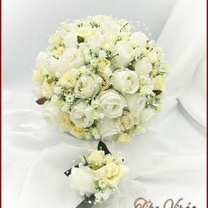 25 szálas fehér-ekrü rózsás örök-csokor + kitűzővel, Esküvő, Menyasszonyi- és dobócsokor, 25 szálas fehér-ekrü rózsás örök-csokor + kitűzővel Csokor mérete:  Átmérője: 24cm Magassága: 25cm M..., Meska