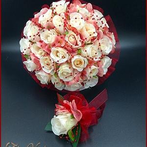 Burgundi díszítésű pasztell-mályvás 34 virágos örök-csokor+kitűzővel, Esküvő, Menyasszonyi- és dobócsokor, Virágkötés, Burgundi díszítésű pasztell-mályvás 34 virágos örök-csokor+kitűzővel\n34 szál rózsából+kitűzővel\nÁtmé..., Meska