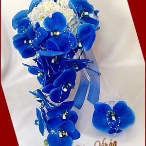 Kék orchideás örök-csepp-csokor+kitűzővel, Esküvő, Menyasszonyi- és dobócsokor, Virágkötés, Kék orchideás örök-csepp-csokor+kitűzővel\nMérete: 60cm hosszú , 32 cm széles\nMás színben is kérhető!..., Meska