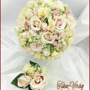 Mályva-ekrü 34 szálas örök-csokor kitűzővel, Esküvő, Menyasszonyi- és dobócsokor, Virágkötés, Mályva-ekrü 34 szálas örök-csokor kitűzővel\n34 szál rózsából, prémium minőségű selyemvirágokból kész..., Meska