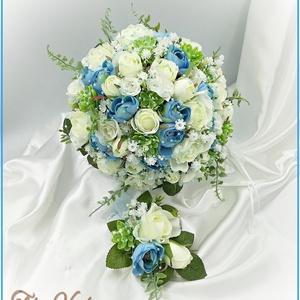 Fehér rózsás-kék boglárkás örök-csokor + kitűzővel, Esküvő, Menyasszonyi- és dobócsokor, Virágkötés, Fehér rózsás-kék boglárkás örök-csokor + kitűzővel\nPrémium minőségű selyemvirágokból készült örök-cs..., Meska