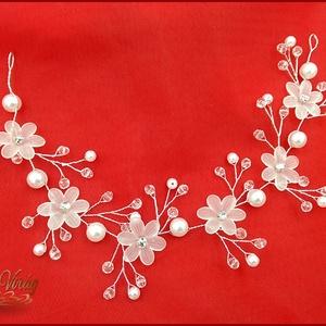 HAJFONAT DÍSZ Margaréta virágokkal, strasszokkal 30CM, Esküvő, Hajdísz, HAJFONAT DÍSZ Margaréta virágokkal, strasszokkal 30CM, Meska