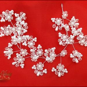 HAJFONAT DÍSZ virágokkal 30CM, Esküvő, Hajdísz, HAJFONAT DÍSZ virágokkal 30CM, Meska