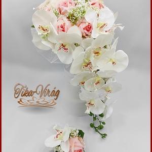 Rózsaszín rózsás- Fehér orchideás örök-csepp csokor + kitűzővel, Esküvő, Menyasszonyi- és dobócsokor, Virágkötés, Rózsaszín rózsás- Fehér orchideás örök-csepp csokor + kitűzővel\nMérete: 60cm hosszú , 32 cm széles\nP..., Meska