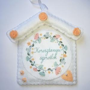 """Filc, anyáknapi dekoráció , Anyák napja, Ünnepi dekoráció, Dekoráció, Otthon & lakás, Textil, Varrás, Filcből készült ez a gyönyörű \""""Keresztanyu szeretlek\"""" feliratos dekoráció. Flíz bevarrásával merevít..., Meska"""