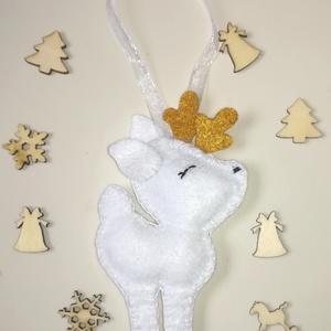 Filc, karácsonyi rénszarvas dekoráció , Karácsony & Mikulás, Karácsonyi dekoráció, Filcből készítettem ezt a cuki rénszarvast. Más színekben is kérhető. Kb. 10,5 cm. , Meska
