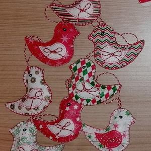 Karácsonyi madár, filc dekoráció , Karácsony & Mikulás, Karácsonyi dekoráció, Filcből készítettem, mindkét fele mintás. Mérete kb 5x7 cm. , Meska