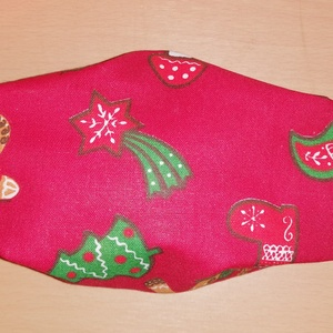 Karácsonyi, rénszarvasos, mézeskalácsos maszk , Karácsony & Mikulás, Karácsonyi dekoráció, Pamutvászonból készült. Mérete kb. 15 cm az orrtól az állig, 18 cm a szélessége, hogy az az fültől f..., Meska