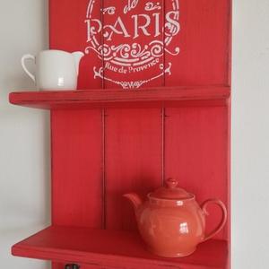 Polc - Cafe de Paris, Polc, Bútor, Otthon & Lakás, Famegmunkálás, Festett tárgyak, A  polc egy eredeti vintage stílusú kiegészítő, jellegzetesen patinázott, hogy vintage hatást keltse..., Meska