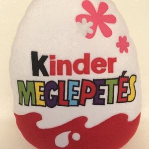 Kinder tojás alakú párna lányoknak, Húsvéti díszek, Ünnepi dekoráció, Dekoráció, Otthon & lakás, Lakberendezés, Lakástextil, Párna, Patchwork, foltvarrás, Varrás, Mindjárt itt a gyereknap! \n\nAjándélk  is kíváló lehet lányoknak ez a kinder tojás alakú párna !\nNinc..., Meska