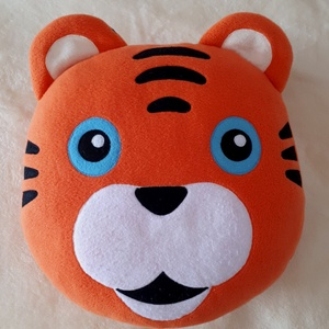 Tigris párna, Otthon & lakás, Gyerek & játék, Lakberendezés, Lakástextil, Párna, Varrás, Tigris fej figura alakú puha polár anygu párna .  mérete 32/37 cm ,  vastagsága 2-4 cm,   Kisgyerme..., Meska