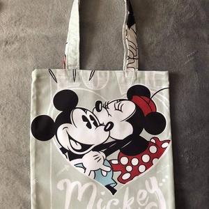Minnie és mickey vászon táska, Táska & Tok, Bevásárlás & Shopper táska, Shopper, textiltáska, szatyor, Varrás, Rendelésre készülő minnie vászon táskák!\nMéretei szélessége 30cm magassága 32cm a füle 50cm hosszú.\n..., Meska