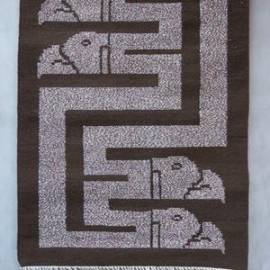 Gyapjúszőnyeg SZ42, Szőnyeg, Lakástextil, Otthon & Lakás, Szövés, Saját tervezésű, hagyományos technikával, szövőszéken szövött falikép azték sólyom motívummal. \nGara..., Meska